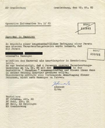 """""""Operative Information"""" der MfS-Kreisdienststelle in Oranienburg zum Wasunger Karneval"""