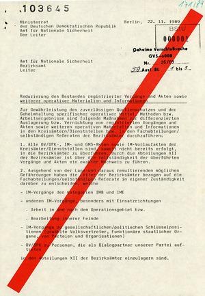 """Schreiben des AfNS-Leiters Wolfgang Schwanitz zur """"Reduzierung des Bestandes registrierter Vorgänge und Akten"""""""