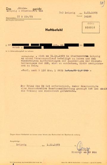 Haftbefehl gegen einen Teilnehmer der Leipziger Beat-Demonstration