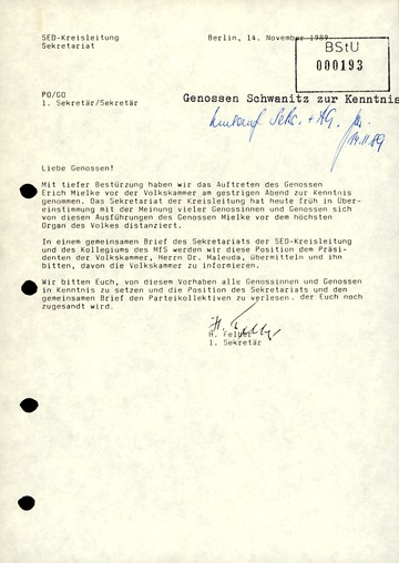 Erklärung der SED-Kreisleitung im MfS zu Mielkes Auftritt in der Volkskammer
