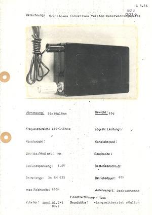 Spezifische operative drahtlose Abhörtechnik (Wanzen)