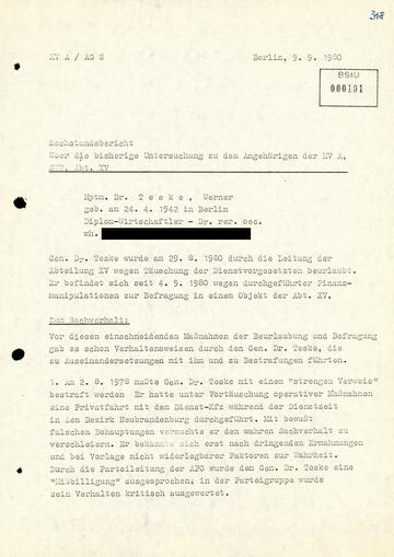 Sachstandsbericht der Arbeitsgruppe Sicherheit über die Untersuchungen zu Werner Teske