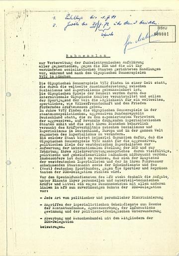 Vorbereitung des Einsatzes von Kräften und Mitteln der Linie III vor, während und nach den Olympischen Sommerspielen 1972 in München (Rahmenplan)