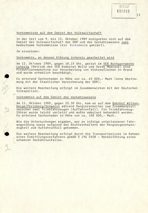Wochenübersicht Nr. 42/89 vom 16. Oktober 1989