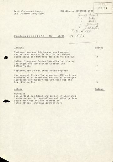Wochenübersicht Nr. 45/89 vom 6. November 1989