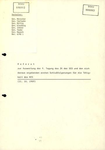 Referat Mielkes zur Auswertung der 9. Tagung des ZK der SED