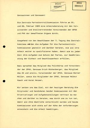 Bericht der Parteikontrollkommission über die Verwirklichung der Beschlüsse der 7. Tagung des Zentralkomitees