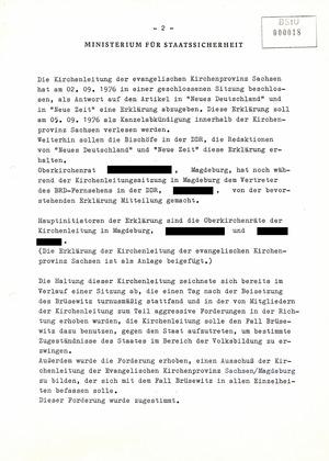 Informationen über die Selbstverbrennung des Pfarrers Oskar Brüsewitz am 18. August 1976 in Zeitz (Reaktionen)