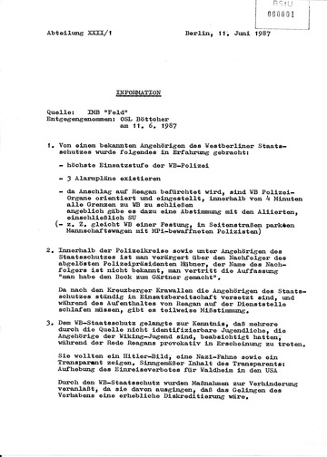 """Information von IMB """"Feld"""" über Aktivitäten der Westberliner Polizei anlässlich des Besuchs von Ronald Reagan"""