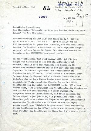 """Rechtliche Einschätzung zum Liedtext """"Sonderzug nach Pankow"""" von Udo Lindenberg"""
