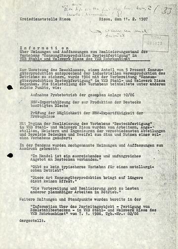 """Information zur """"Konsumgüterproduktion Besteckfertigung"""" im VEB Stahl- und Walzwerk Riesa des VEB Rohrkombinat"""