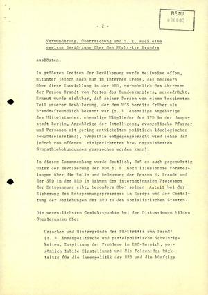 Stimmungsbericht zur Reaktion der Bevölkerung auf den Rücktritt Willy Brandts