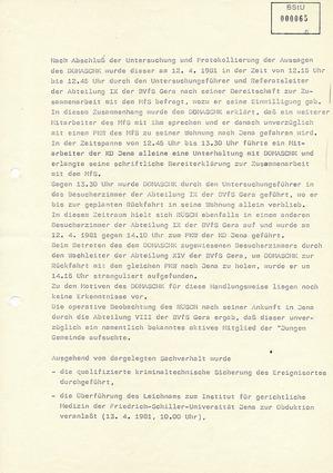 Bericht der Hauptabteilung IX/4 über den Todesfall Matthias Domaschk in der Untersuchungshaftanstalt Gera