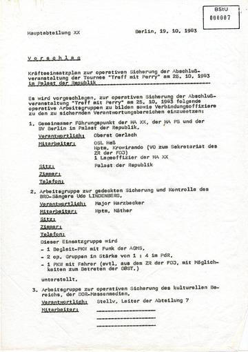 Kräfteeinsatzplan zur Sicherung des Udo-Lindenberg-Konzertes am 25.10.1983