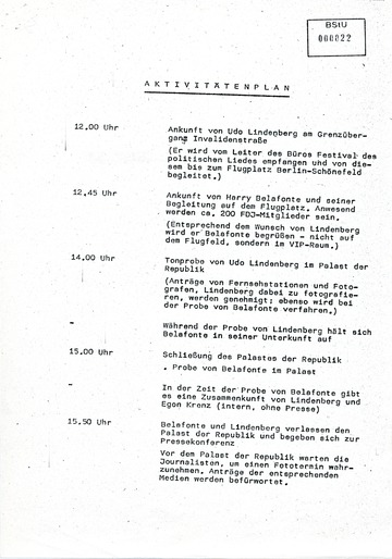 Aktivitätenplan am Tag des Udo-Lindenberg-Konzertes im Palast der Republik