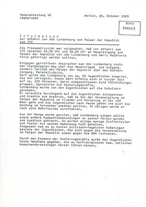Information zur Abfahrt Udo Lindenbergs vom Palast der Republik zum IPZ