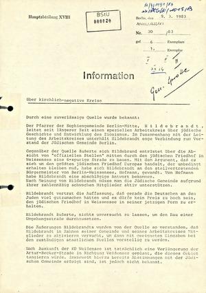 """Information über Kontakte """"kirchlich-negativer Kreise"""" zur jüdischen Gemeinde"""