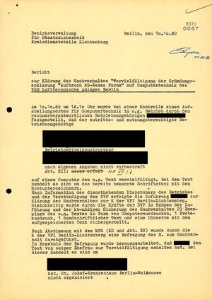 Bericht über die Vervielfältigung der Gründungserklärung des Neuen Forums vom 10. Oktober 1989