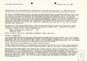 """Dokumentation eines Beitrages der Fernsehsendung """"Kennzeichen D"""" zur Ossietzky-Affäre"""