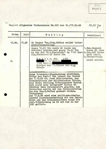 """Meldung der KD Pankow über eine Unterschriftensammlung in der EOS """"Carl von Ossietzky"""""""