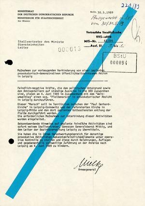 Maßnahmen zur Verhinderung des 2. Pleiße-Gedenkmarsches am 5. Juni 1989 in Leipzig