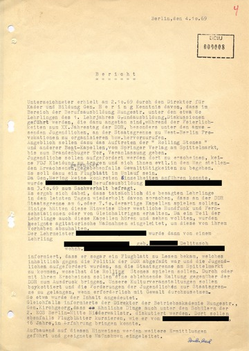 Bericht zu Flugblättern in der Betriebsberufsschule Rungestraße über ein angebliches Rolling-Stones-Konzert