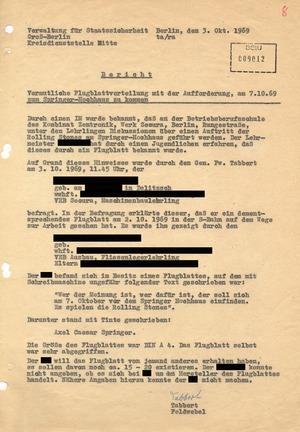 Bericht zu einer vermuteten Verteilung von Flugblättern