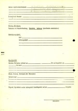 Personalkarte zu einem nach Direktive 1/67 zu isolierenden DDR-Bürgers