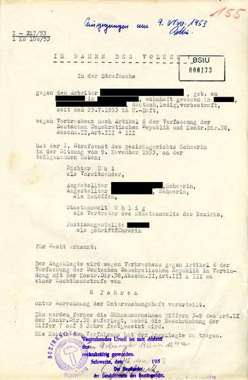 """Urteil gegen einen Arbeiter aus Güstrow wegen des Schreibens einer """"Hetzlosung"""" während des Volksaufstandes"""