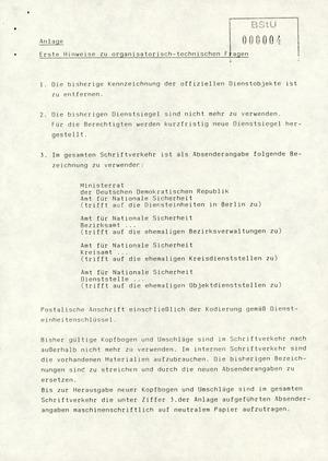 Schreiben des neuen AfNS-Leiters Wolfgang Schwanitz an die Leiter der Diensteinheiten zur zukünftigen Kompentenzverteilung
