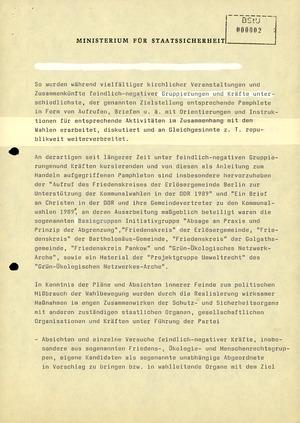 Aktivitäten von Bürgerrechtsgruppen zu den Kommunalwahlen im Mai 1989