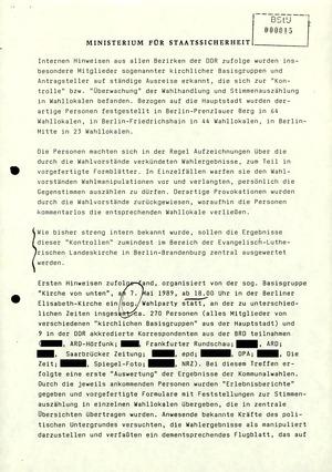 Information zum Verlauf der Kommunalwahlen am 7. Mai 1989
