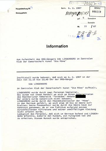 Information zu einem Aufenthalt Udo Lindenbergs in Ost-Berlin
