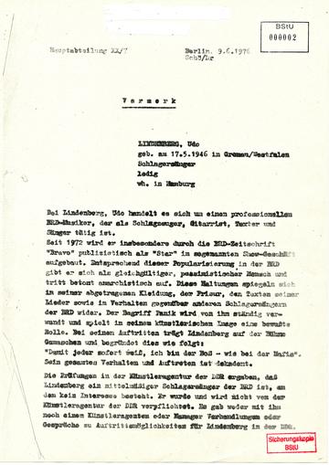 Vermerk über das Auftreten Udo Lindenbergs
