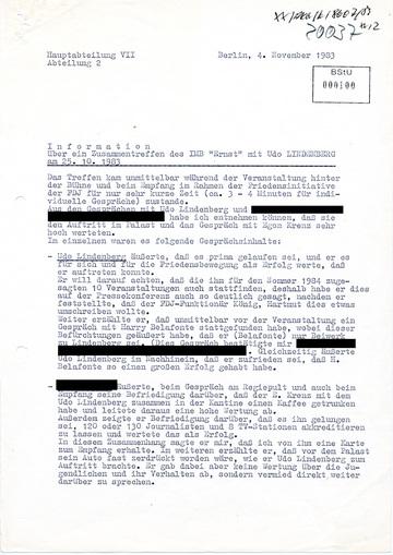 """Bericht des IMB """"Ernst"""" über ein Treffen mit Udo Lindenberg"""