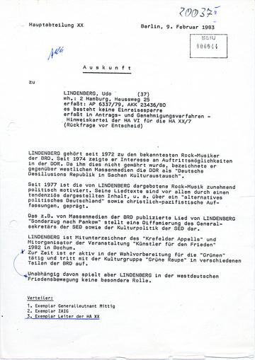 Auskunft zum BRD-Rockmusiker Udo Lindenberg