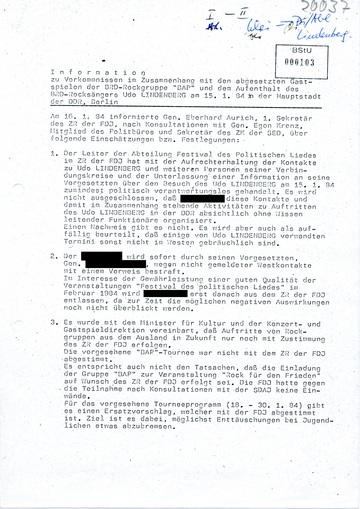 Information über Tourneen von BAP und Udo Lindenberg in der DDR