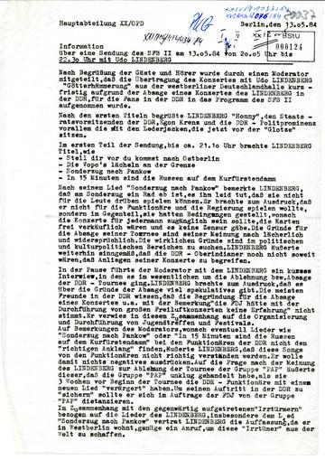 Zusammenfassung der Übertragung eines Konzerts von Udo Lindenberg im SFB