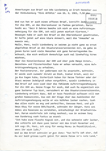 Mitschrift der Stasi von einer RIAS-Sendung zu Udo Lindenberg