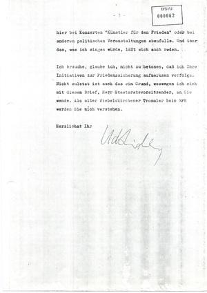 Brief von Udo Lindenberg an Erich Honecker