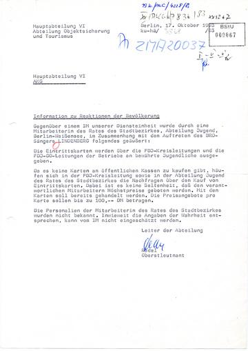 Information über die Reaktionen der Bevölkerung zum Auftritt Udo Lindenbergs in der DDR