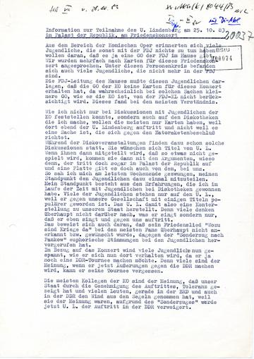 Information zur Teilnahme des Udo Lindenberg am Friedenskonzert
