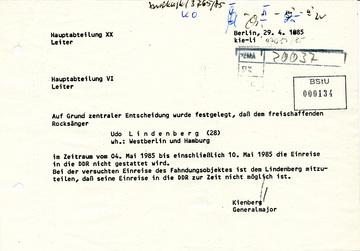 Einreiseverbot für Udo Lindenberg in die DDR
