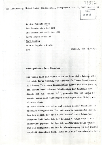 Brief von Udo Lindenberg an Erich Honecker