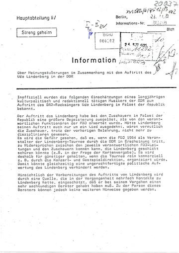 Information zur Reaktion des Publikums während des Konzerts von Udo Lindenberg