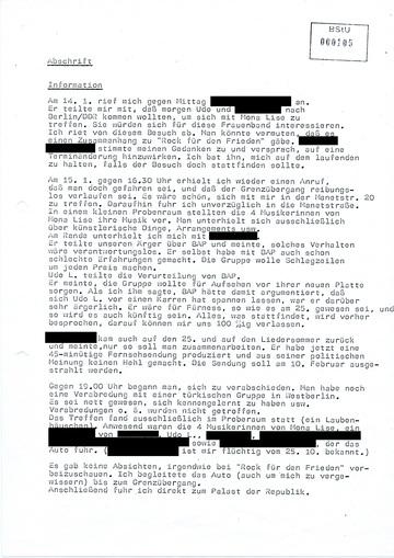 Information über einen unangemeldeten Besuch Udo Lindenbergs in Ost-Berlin