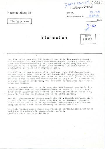 Information über Diskussionen unter FDJ-Mitgliedern