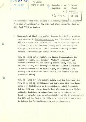 """""""Zusammenfassender Bericht über den Medienaustausch"""" zwischen Michael Kohl und Egon Bahr"""