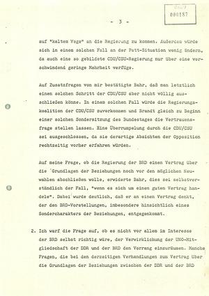 """Gedächtnisprotokoll über eine """"persönliche Unterredung mit Staatssekretär Bahr"""""""