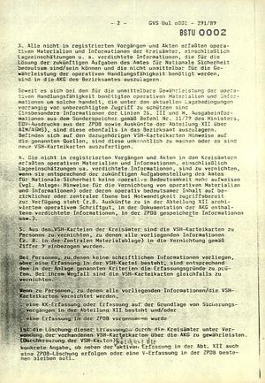 Anordnung vom Leiter des Bezirksamts Suhl zur Vernichtung von Unterlagen